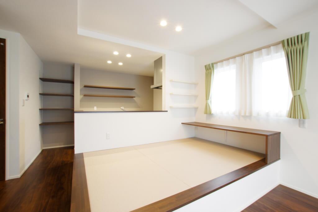 ハーバーハウスの新築 家づくり 事例「小上がりの畳スペースでゆったりくつろぐ家」